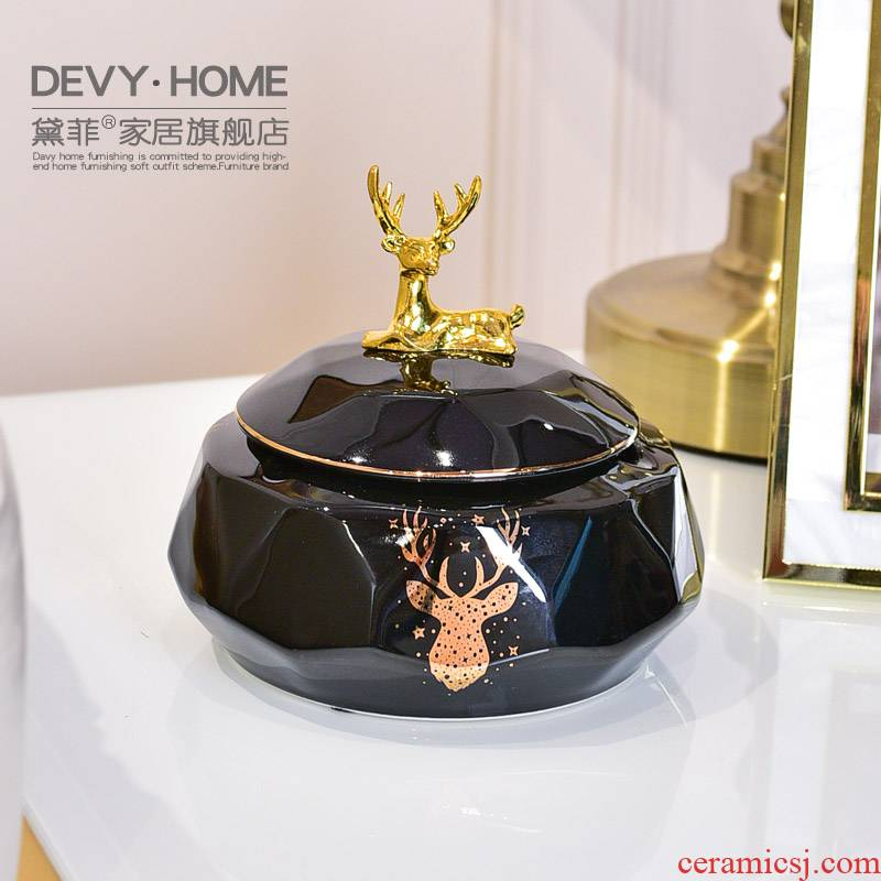 Light European - style key-2 luxury creative ceramics with cover an ashtray move sitting room to receive box jewelry box office decoration furnishing articles