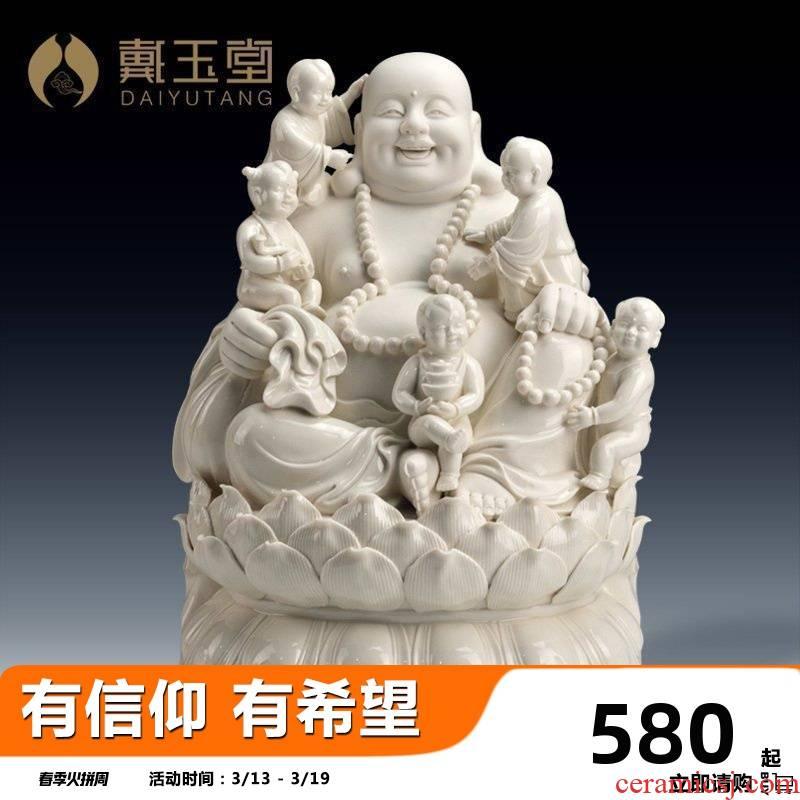 Yutang dai home sitting room ceramic cloth pot - bellied laughing Buddha Buddha maitreya worship that occupy the home furnishing articles/16 inches abital