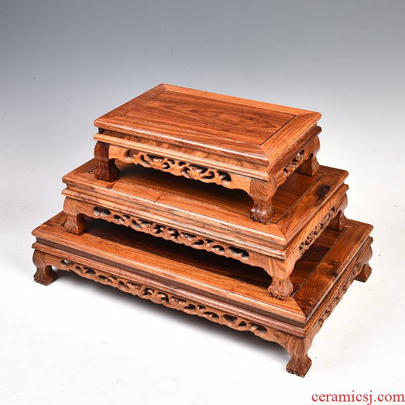 Hua limu miniascape of carve patterns or designs on woodwork annatto handicraft base base solid rectangular tank base wooden furnishing articles