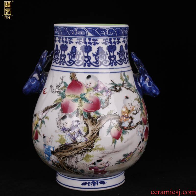 Jingdezhen bucket color nine son climb peach f tube deer head statute imitation yongzheng antique antique porcelain vases, decorative furnishing articles