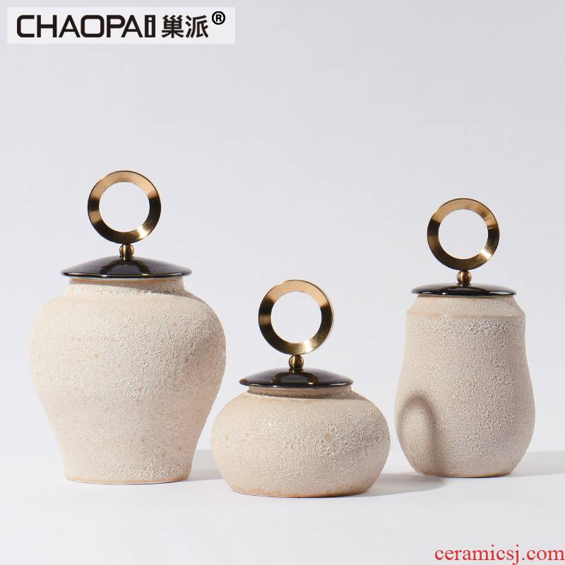 New Chinese style coarse pottery storage tank furnishing articles creative lattice sitting room ark, ceramic arts and crafts show soft decoration