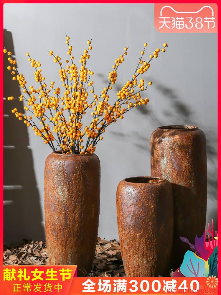 Jingdezhen coarse pottery pottery flower tea house sitting room landing restoring ancient ways between example decorative porcelain vases, earthenware furnishing articles