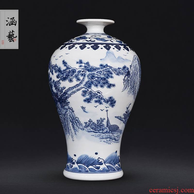 Jingdezhen ceramics antique landscape of blue and white porcelain vase flower arrangement sitting room of Chinese style household adornment handicraft furnishing articles