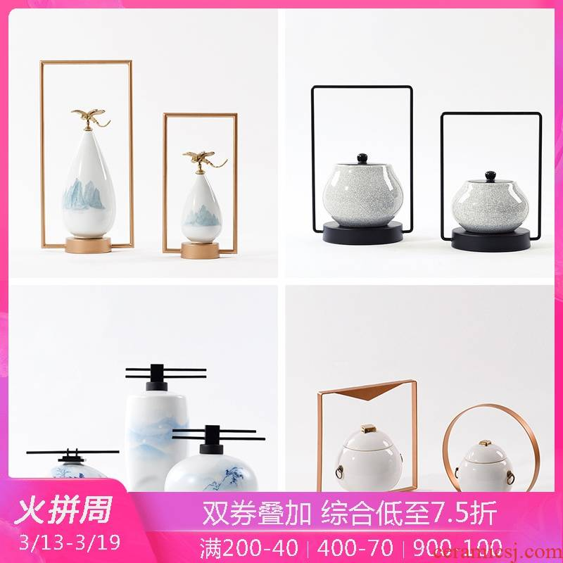 Modern sample room interior rich ancient frame wine porch light key-2 luxury new Chinese arts and crafts porcelain pot decorative furnishing articles
