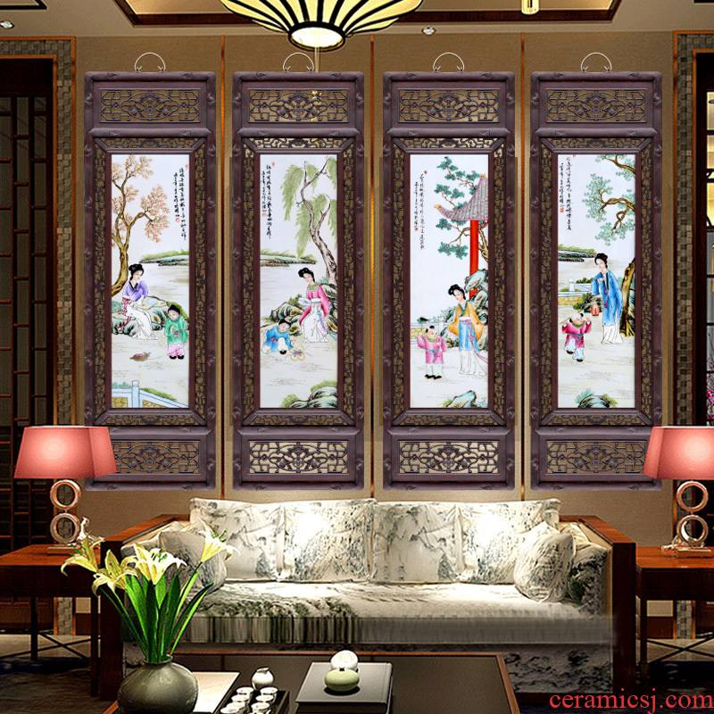 Archaize of jingdezhen porcelain plate characters painter in the sitting room adornment four screen study office setting wall hang a picture