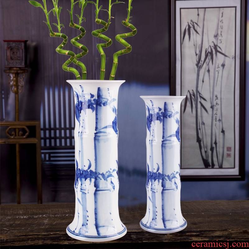 Jingdezhen ceramic lucky bamboo vase large landing hydroponic flower arrangement of I and contracted sitting room adornment porcelain furnishing articles