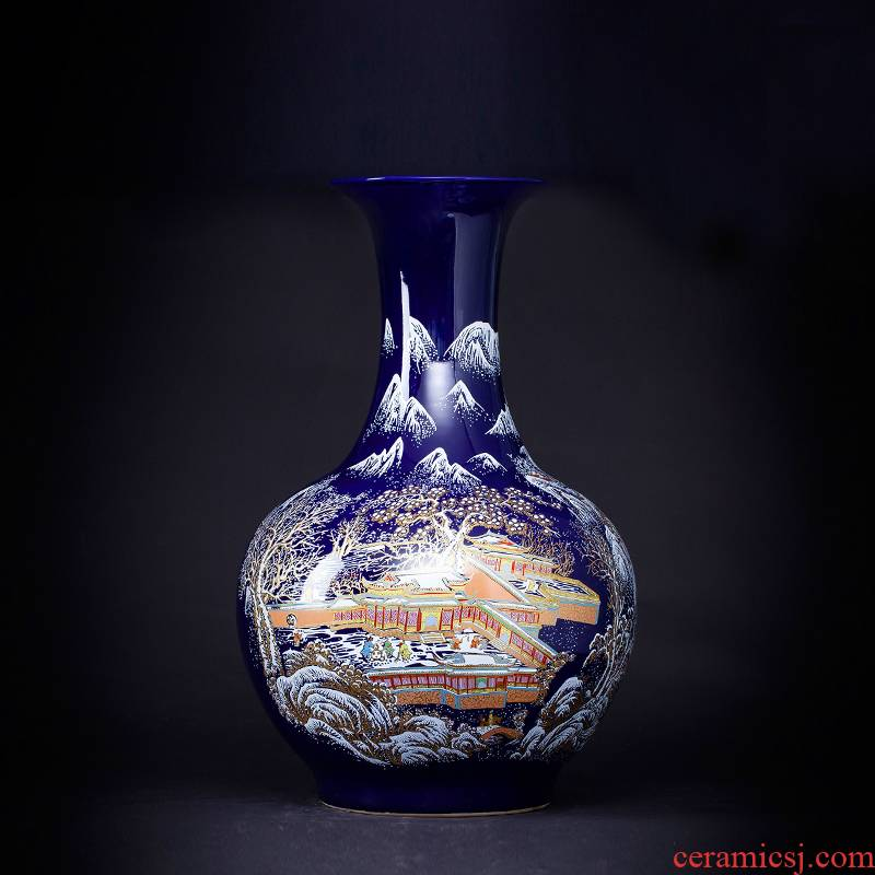 Archaize of jingdezhen chinaware big blue vase furnishing articles flower arranging ground adornment of Chinese style of the sitting room porch decoration