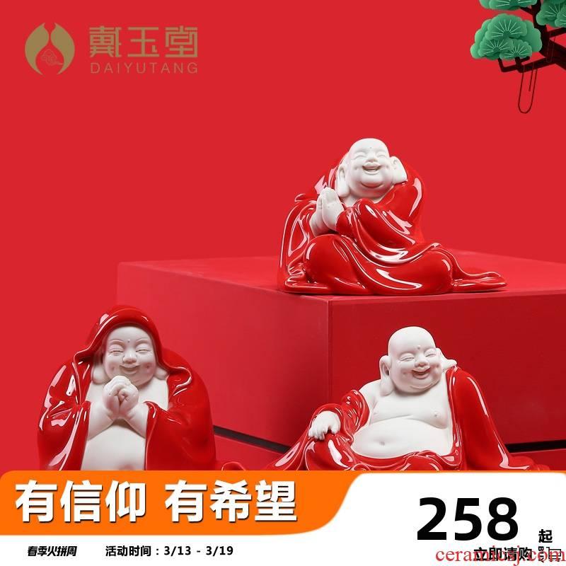 Yutang dai dehua porcelain maitreya Buddha furnishing articles in red creative ceramic primer buddhist in the decorative arts and crafts