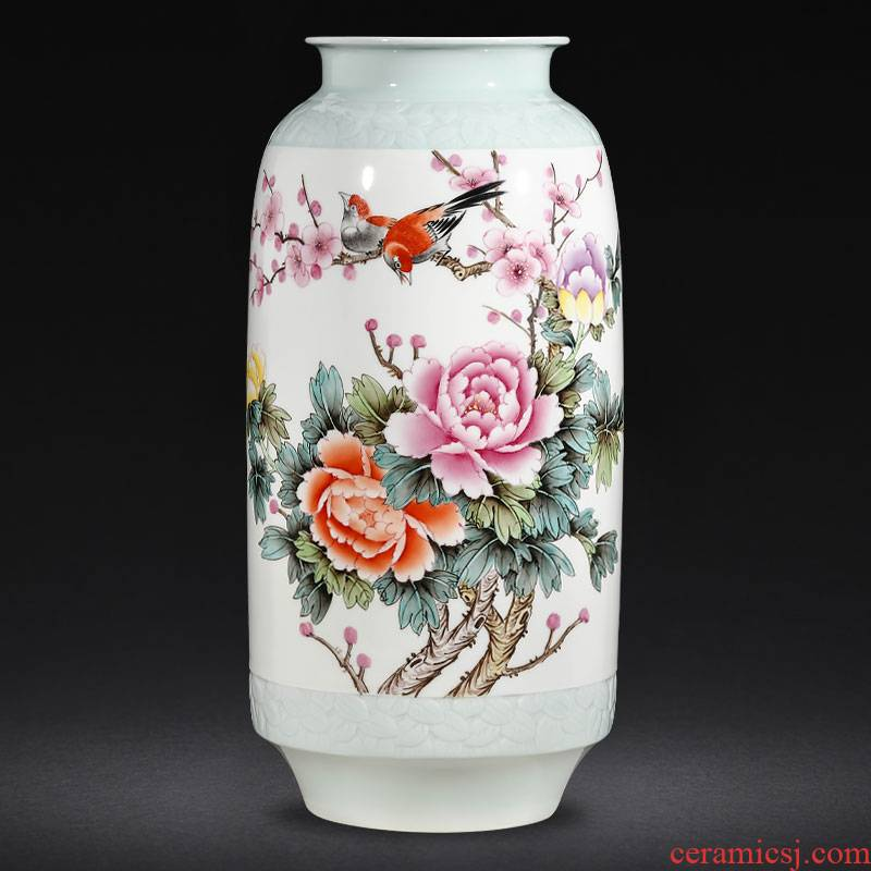 Jingdezhen ceramics hand - made enamel vase flower arranging high - grade Chinese style living room porch TV ark adornment furnishing articles