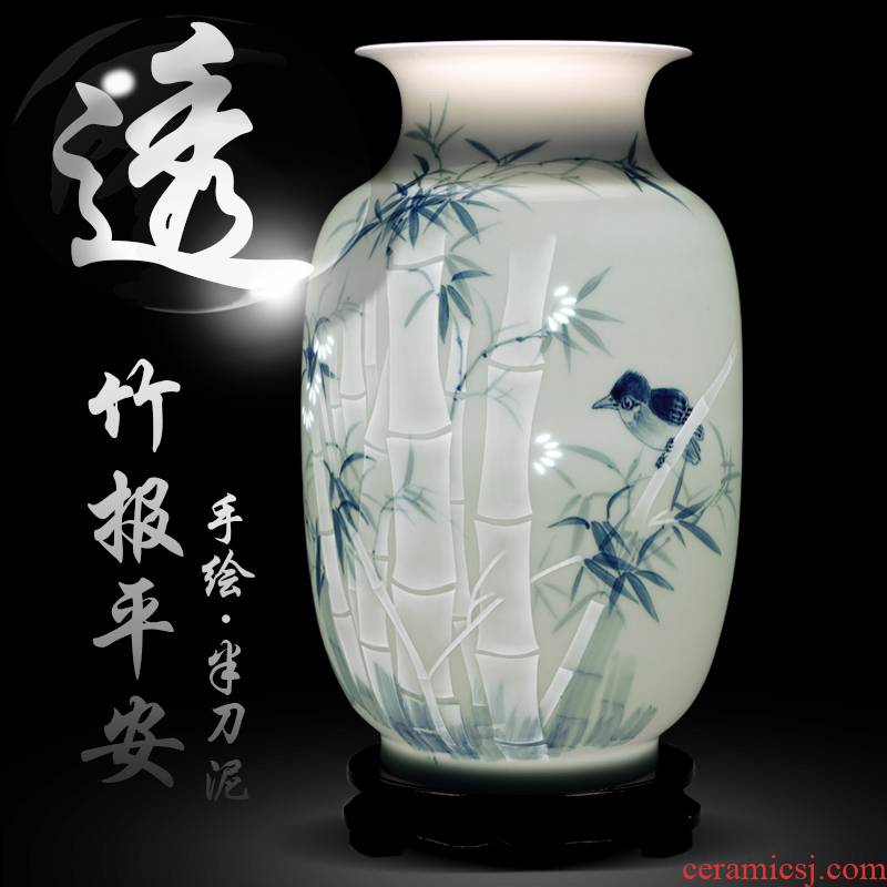 Jingdezhen ceramics hand - made bamboo thin body new Chinese style household knife clay flower arrangement sitting room adornment handicraft furnishing articles