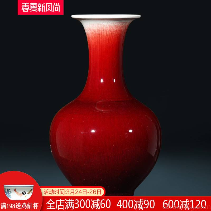 Jingdezhen ceramics ruby red large vase furnishing articles large Chinese antique porcelain home decoration in the living room