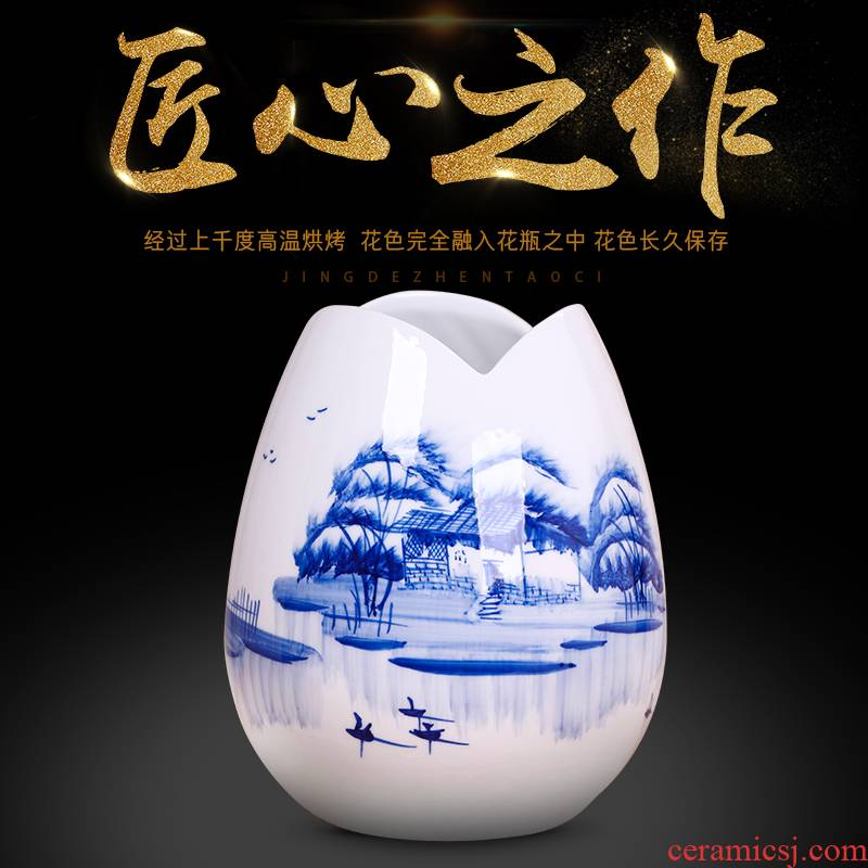 Jingdezhen blue and white flower arranging exchanger with the ceramics hand - made floret bottle wine furnishing articles contracted sitting room home decoration fashion