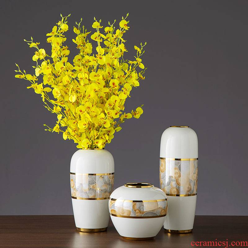 Jingdezhen ceramic contracted light key-2 luxury furnishing articles furnishing articles vase American sitting room porch dried flower flower flower decoration