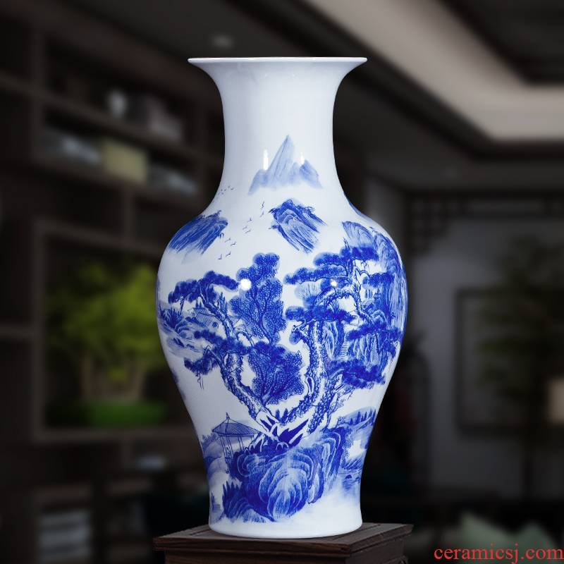 Jingdezhen ceramics landscape painting large blue and white porcelain vases, flower arrangement antique Chinese style household, hotel floor furnishing articles
