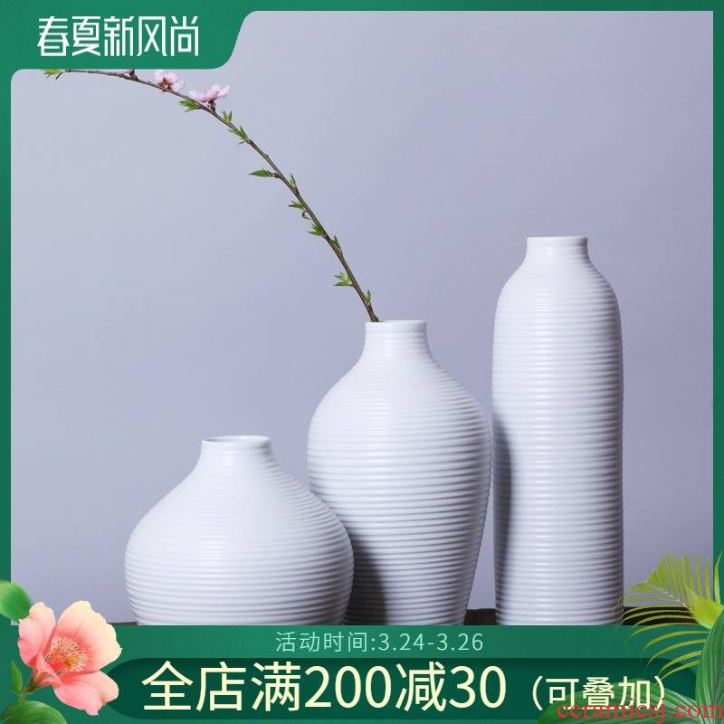 I and contracted home decorations fashionable home sitting room tea table furnishing articles creative white three - piece ceramic vase