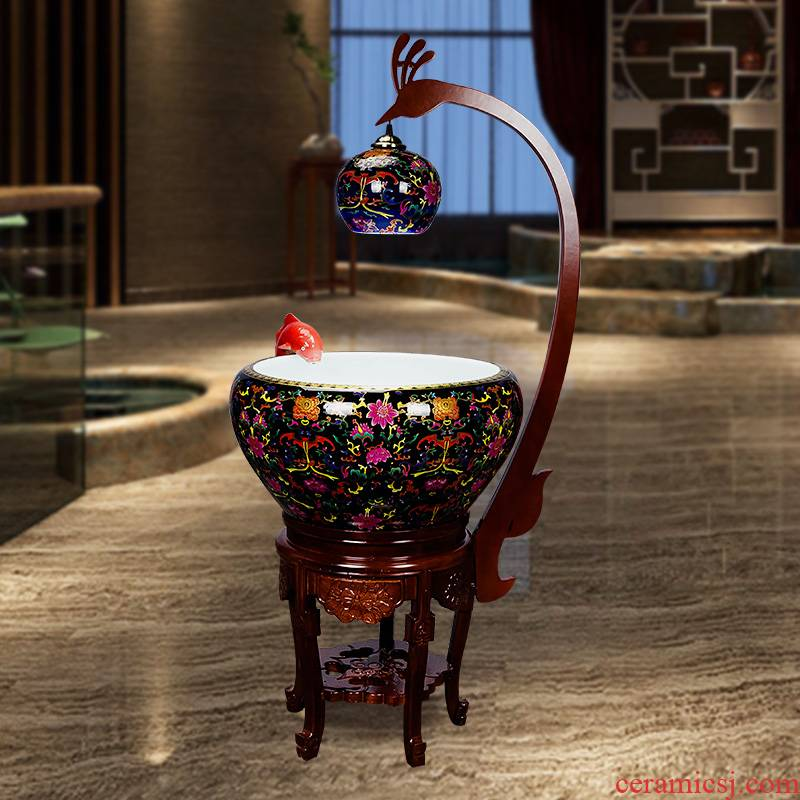 Super - large jingdezhen Chinese penjing ceramic porcelain home sitting room aquarium fish basin cycle indoor a goldfish bowl with lamp