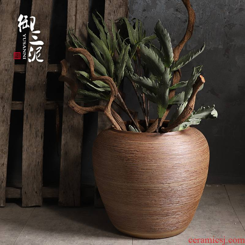 Coarse pottery big jar circular cylinder aquarium garden flowerpot large ground ceramic vases, dried flowers sitting room restoring ancient ways furnishing articles