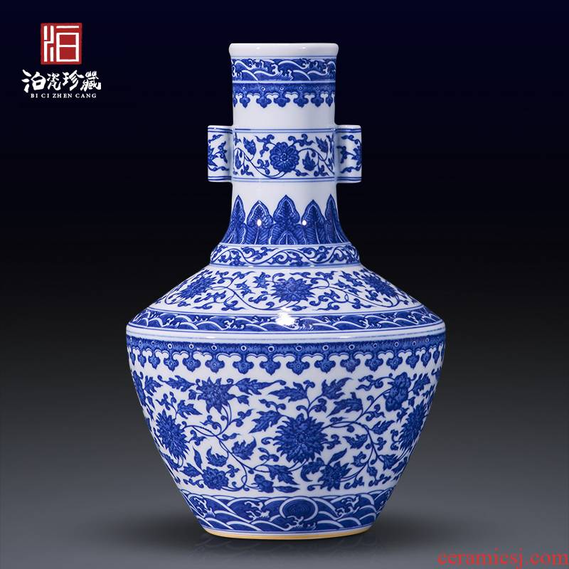 Jingdezhen blue and white ceramics bound branch flowers penetration ear vase collection of new Chinese style household, sitting room adornment is placed
