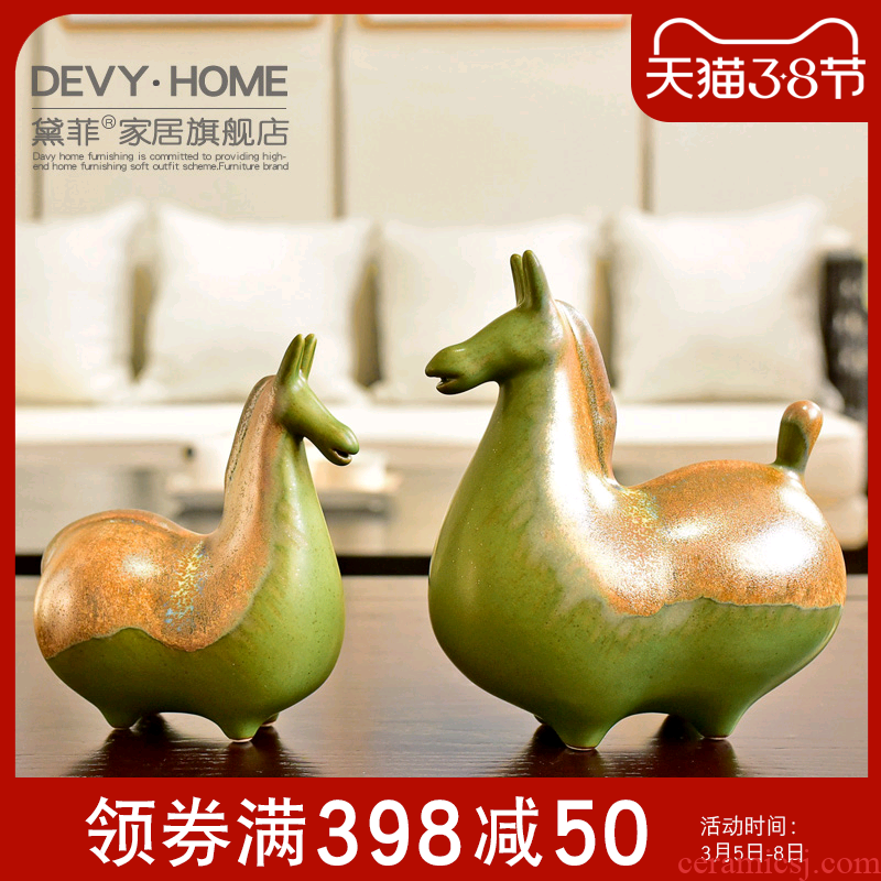 Jingdezhen what checking ceramic horse furnishing articles new Chinese lucky town house decoration decoration household trinkets