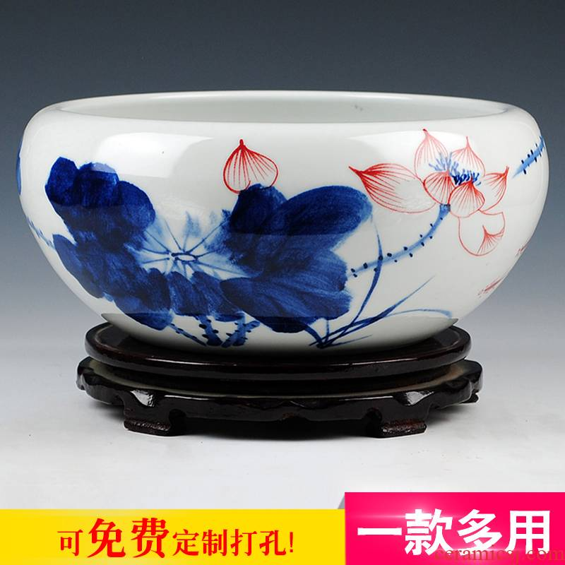 Jingdezhen porcelain hand draw freehand brushwork in traditional Chinese ceramics daikin aquarium water shallow tortoise cylinder water lily refers to basin of lotus furnishing articles