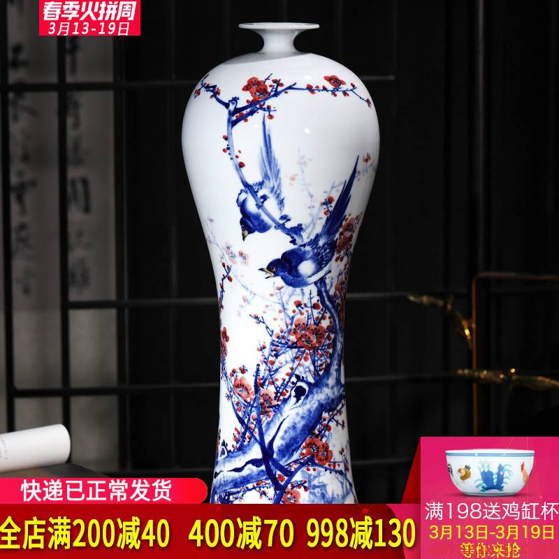 Jingdezhen ceramics beaming antique hand - made of blue and white porcelain vases, flower arrangement of new Chinese style furnishing articles large living room