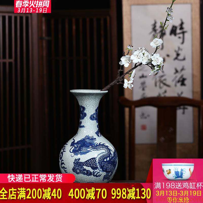 Jingdezhen ceramics archaize crack vases, flower arranging furnishing articles home decoration decoration of Chinese style restoring ancient ways is the living room