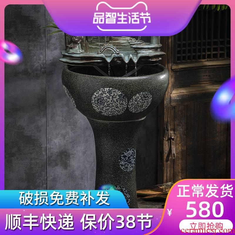 Jingdezhen porcelain floor water fountain furnishing articles sitting room aquarium water restoring ancient ways feng shui wheel creative gifts