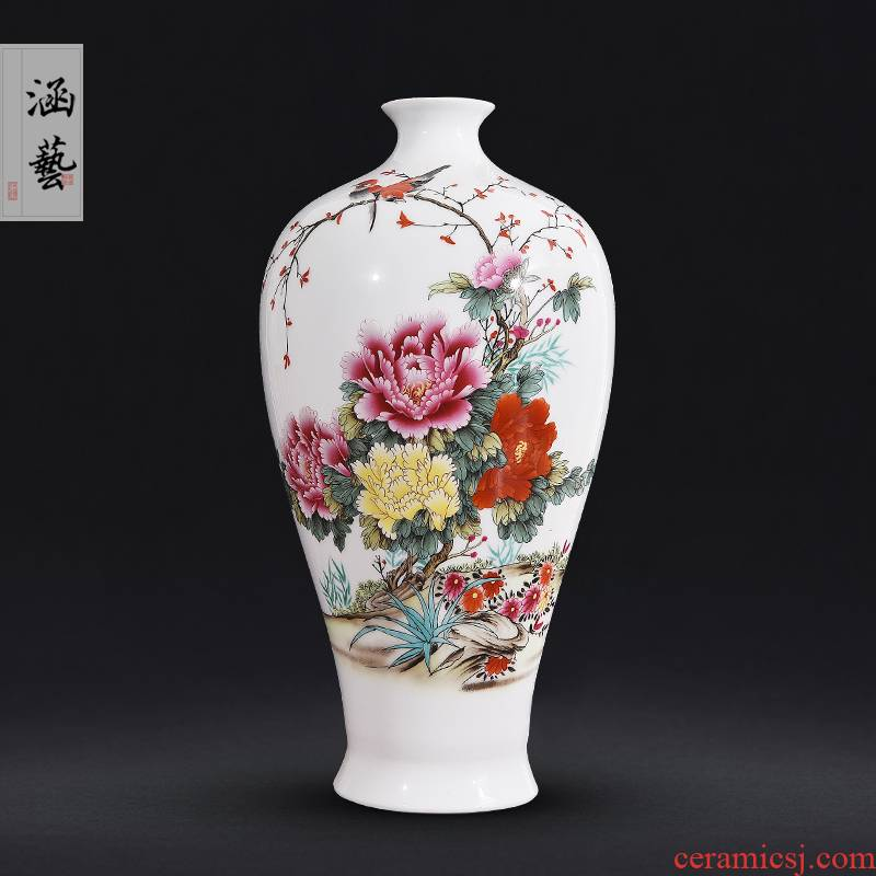 Jingdezhen ceramics powder enamel blooming flowers, get a bottle of new Chinese style living room decoration flower arrangement craft gift furnishing articles