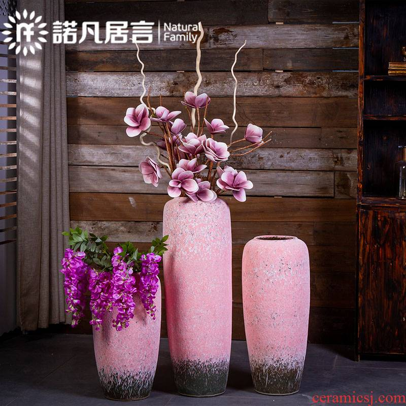 Large ceramic vase coarse pottery do old Japanese Nordic furnishing articles dried flower arranging flowers sitting room be born creative retro decoration