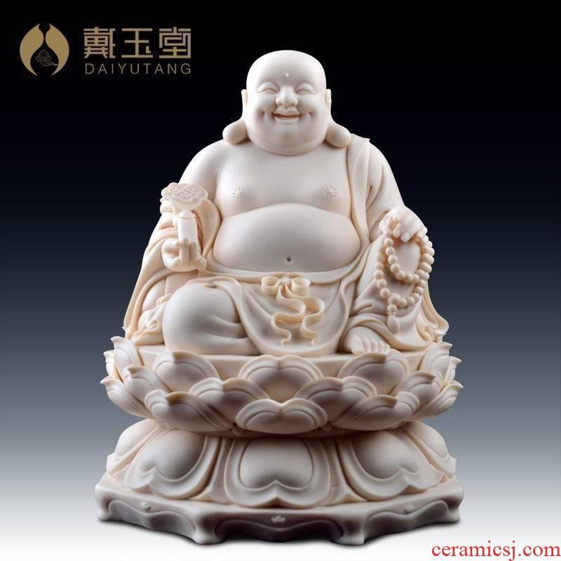 Smiling Buddha yutang dai dehua porcelain its handicraft furnishing articles/sitting ruyi maitreya jade red porcelain D01-030
