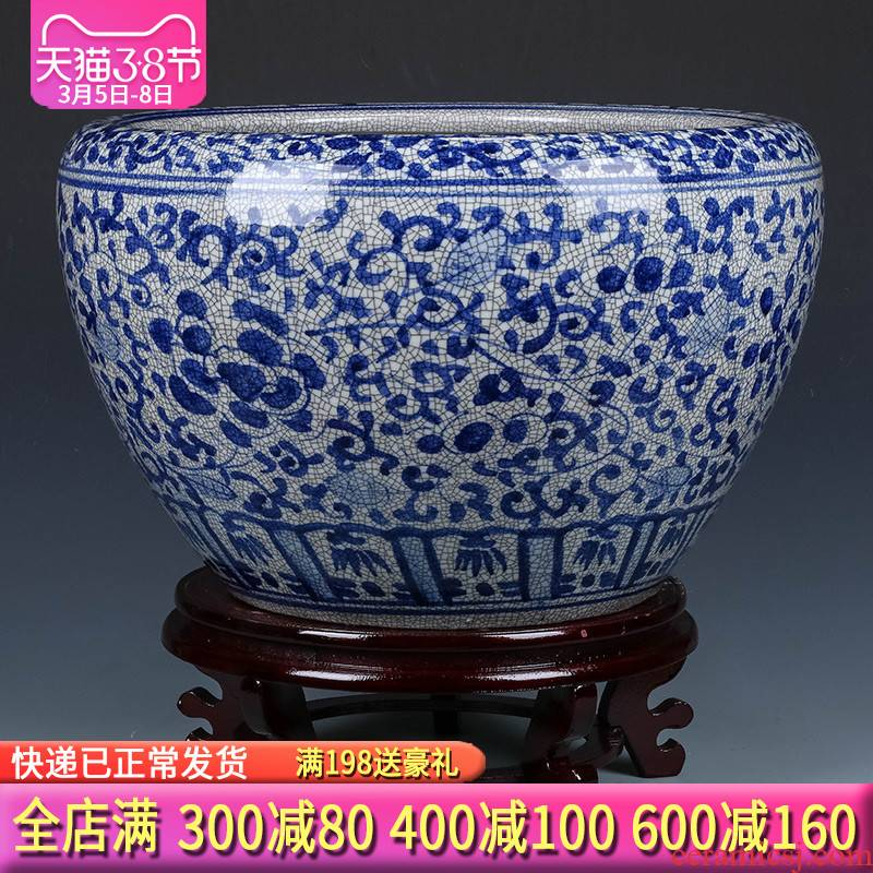 Jingdezhen ceramic hand - made antique gold fish tank water lily bowl lotus Chinese style restoring ancient ways yard extra large living room