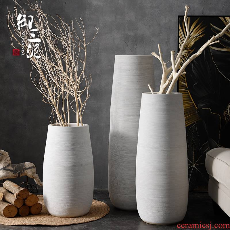 Artistic ceramic restoring ancient ways of large vases, dry flower POTS to I and contracted white thread gun barrel flowerpot furnishing articles in the living room
