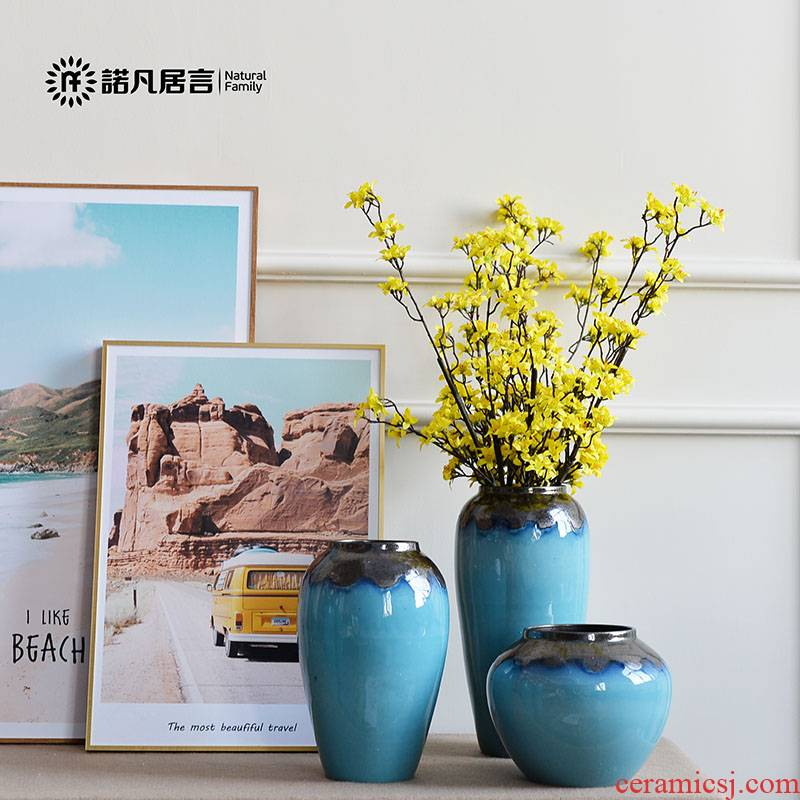 The New Chinese jingdezhen ceramic vase mesa blue glaze up sitting room place the dried flower decoration suit to decorate