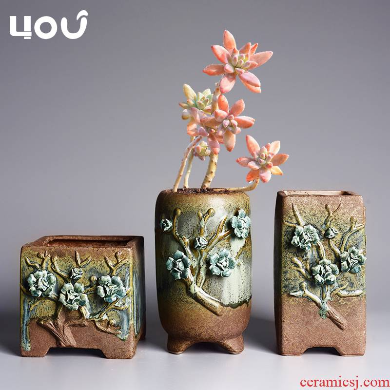 Creative fleshy flowerpot ceramic small coarse TaoFu ancient running the flesh household green the plants potted balcony pot the plants