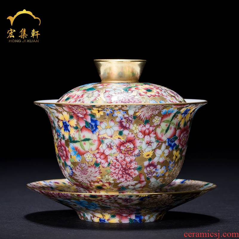 Only three tureen jingdezhen ceramic powder enamel enamel Mosaic gold cups to flower tea bowl of sweet white kung fu tea set