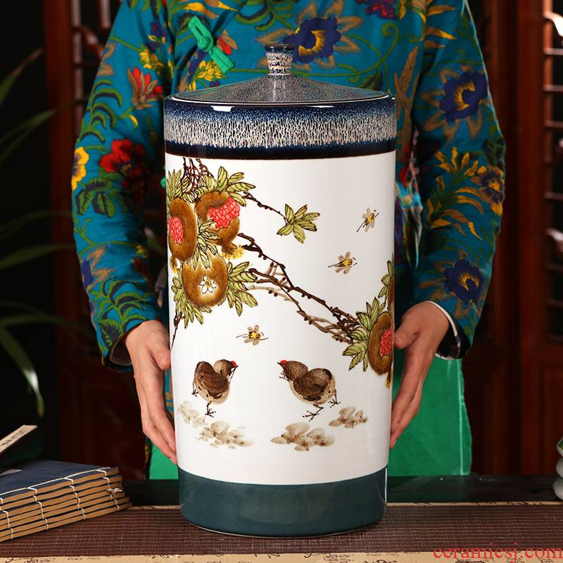 Ceramic tea pot seal pot of tea barrel big detong sealed bucket of jingdezhen Ceramic checking Ceramic storage tank