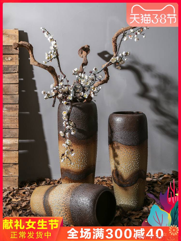 Jingdezhen ceramic retro nostalgia sitting room, dining - room floor vase between example flower flower implement mall cafe