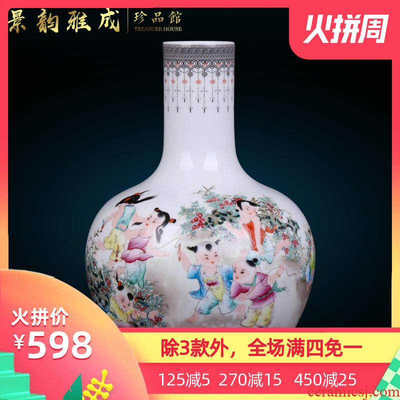 Jingdezhen ceramic antique hand - made tong qu vase furnishing articles creative new Chinese ikea sitting room adornment flower arrangement