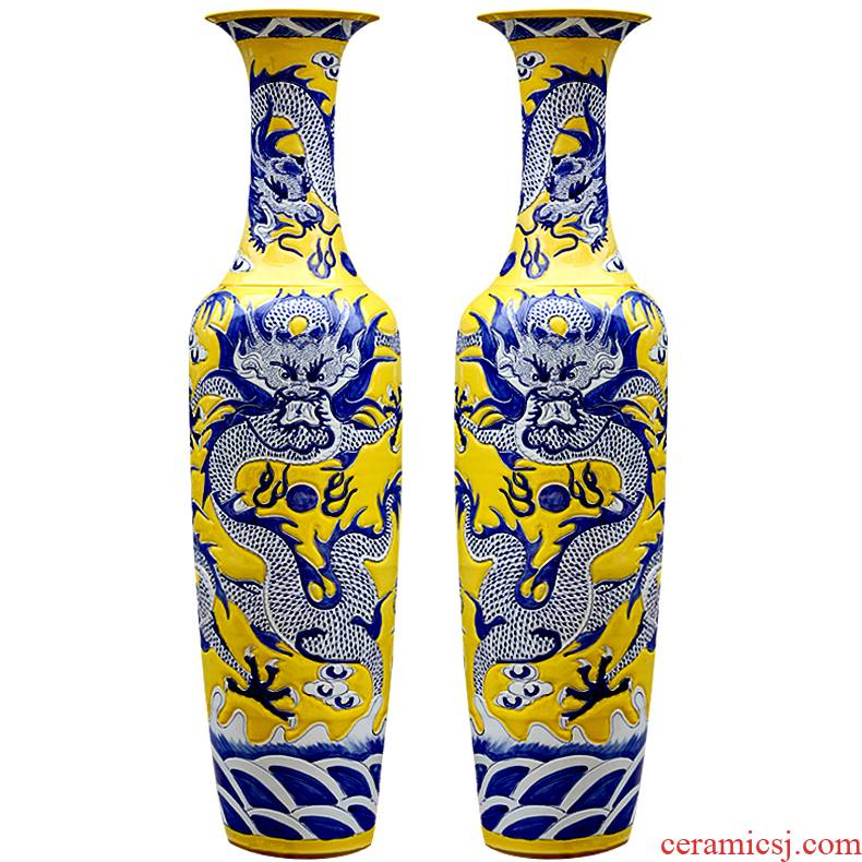 Jingdezhen ceramics hand - carved Huang Longfeng ChengXiang furnishing articles hl1 vase of large sitting room hotel decoration