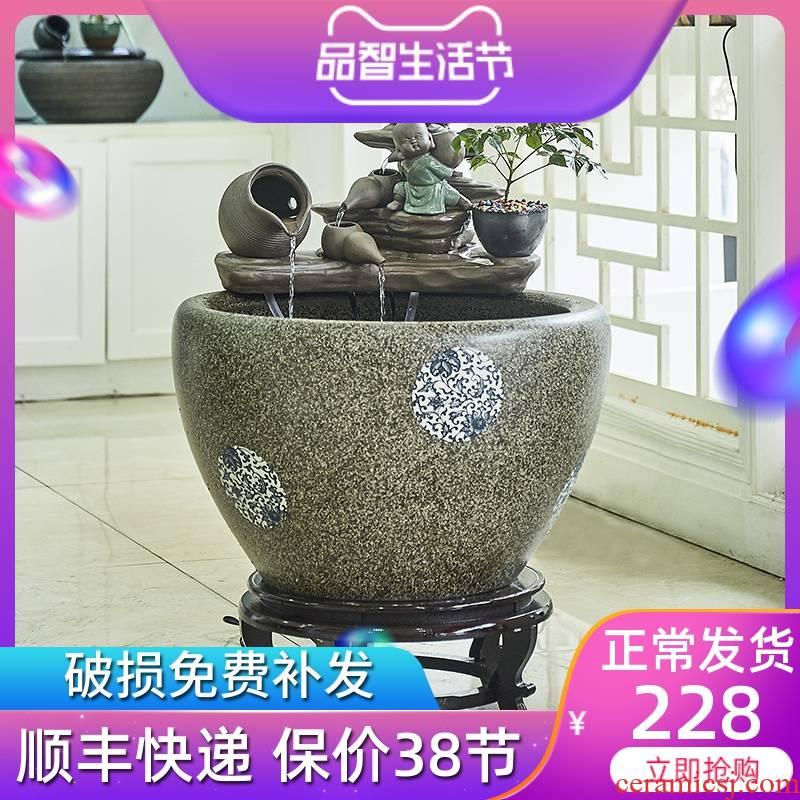 Jingdezhen ceramic goldfish bowl zen cornucopia restoring ancient ways furnishing articles tank filter water courtyard aquarium