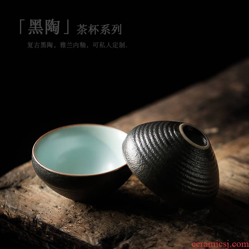 ShangYan retro black pottery teacup perfectly playable cup small ceramic bowl kung fu tea sample tea cup single CPU contracted master CPU
