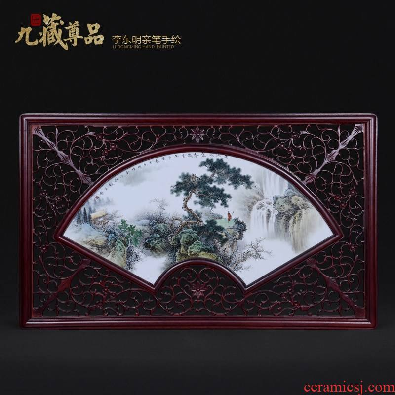 Jingdezhen ceramics dong - Ming li personally hand - made famille rose porcelain plate painting landscapes sitting room adornment household furnishing articles