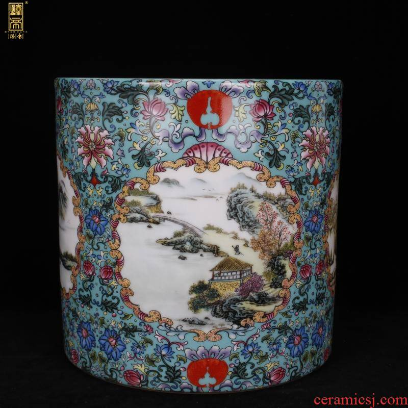 "Archaize of jingdezhen porcelain scenery colored enamel big brush pot ""four desk pen sea Chinese style household company office furnishing articles"