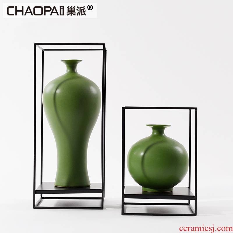 The new Chinese style green ceramic floor furnishing articles lobby while what TV wine porch displayed soft decoration
