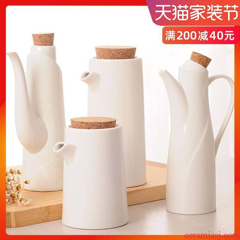 Contracted white sauce pot of ceramic kitchen soy sauce pot of vinegar bottle capped seasoning sauce pot set bottle type