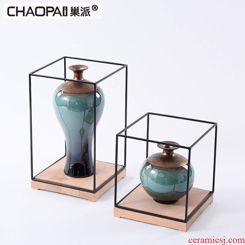 New Chinese style gradient ceramic pot furnishing articles example room the hotel porch side what study a long narrow table floor soft decoration