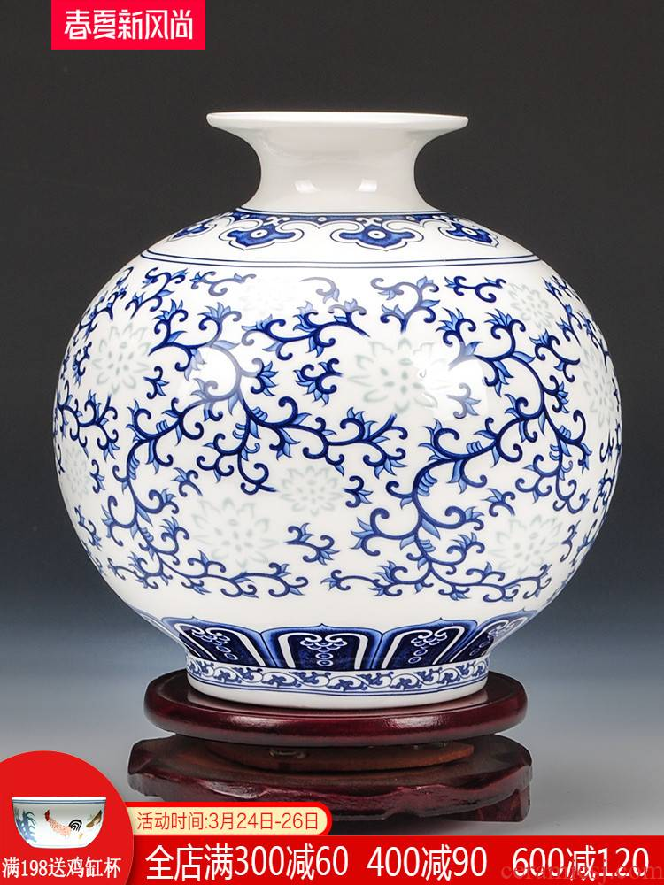 Jingdezhen blue and white ceramics and exquisite ipads porcelain vase flower arranging new Chinese style living room home wine ark, adornment furnishing articles