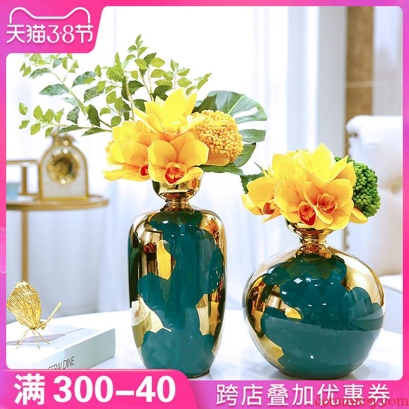 American ceramic vase furnishing articles home sitting room dried flowers flower arrangement of Europe type TV ark, the table decorations decoration ideas