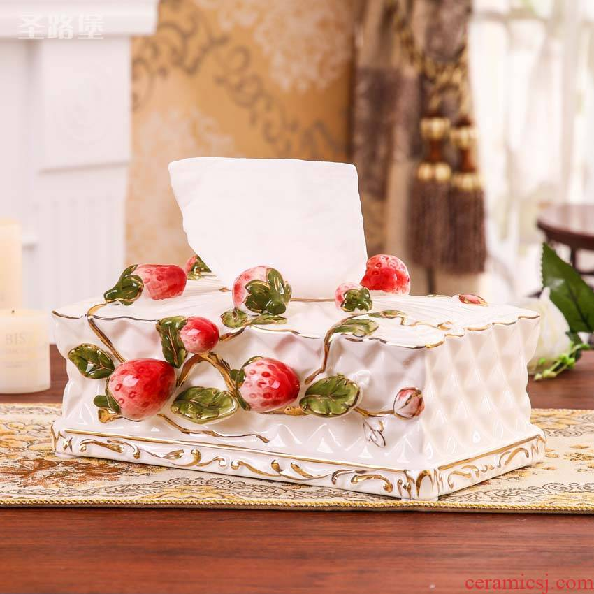 Fort SAN road ceramic tissue box artical smoke box household act the role ofing is tasted the napkin box of the sitting room the desktop to receive