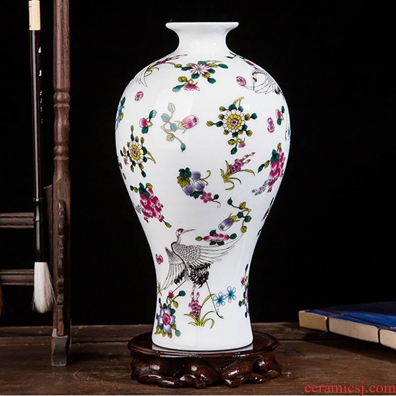Jingdezhen ceramics northern wind creative process wine colored enamel luminous floret bottle household adornment furnishing articles
